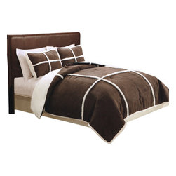 Pem America - Microsuede Sherpa Full / Queen Comforter With 2 Shams Chocolate - Wrap yourself in cozy warmth with this micro suede comforter set featuring Sherpa fleece framing. Reverses to an ivory polyester backing. Full /Queen comforter 88x88 inches and 2 standard size shams 20x26 inches. 100% polyester micro suede face with Sherpa fleece framing. Reverse is 100% polyester.  100% polyester fill. Machine washable.
