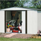 Arrow Shed - Arrow Shed Newburgh 10 x 8 ft. Shed Multicolor - NW108 - Shop for Sheds and Storage from Hayneedle.com! It feels good getting all that yard work accomplished and with the Arrow Shed Newburgh 10 x 8 ft. Shed you can even keep your lawn looking nice by hiding the yard waste until it can be picked up. And with plenty of room to also store all your tools you can avoid clutter in your yard basement or garage. Perfect for everything from tools to toys to holiday trimmings this roomy storage shed offers you a perfect place to organize all those outdoor miscellanea that tend to otherwise stuff your living spaces. The handsome look of the eggshell and coffee color combination also adds a crisp clean appearance that compliments any exterior design or landscaping. The low gable allows you plenty of room to get in and move around. And the easy-sliding doors can be padlocked to keep your equipment safe. Made in the United States this shed is constructed with electro-galvanized steel making it affordable durable and attractive. With numbered and predrilled parts this shed can be assembled quickly and easily as a weekend project with basic DIY skills.Additional Features:Exterior Dimensions: 123.25W x 95.25D x 70H inchesInterior Dimensions: 118.25W x 90D x 69.63H inchesDoor Dimensions: 55.5W x 58H inchesAbout Arrow Storage ProductsEstablished in 1962 as Arrow Group Industries Arrow Storage Products is now the worldwide leader in designing manufacturing and distributing steel storage sheds that are easily assembled from a kit. Arrow Storage Products hasn't garnered its 13 million customers by resting on its laurels either. The company takes great pride in having listened to their customers over the years to develop quality products that meet people's storage needs. From athletic equipment to holiday decorations from tools to recreational vehicles Arrow Storage Products prides itself on providing quality USA-built structures that offer storage solutions. Available in a wide variety of sizes models finishes and colors - Arrow's products are constructed with electro-galvanized steel to be more affordable durable attractive and easy to assemble.