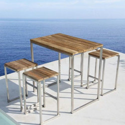Icon Recycled Teak Outdoor Stool - The Icon recycled outdoor teak stool has a stainless steel frame. Matching tables are available.