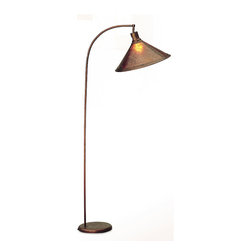 Cal Lighting - Arch Design Mica Shaded Floor Reading Lamp - The luxurious arch design of this elegant floor lamp offers options for extending light over chairs, sofas and tables with ease.  Richly detailed Mica shade filters light in a soft amber effervescent glow to bring ambient lighting into your space.  Convenient three-way switch allows for maximum lighting flexibility to create just the perfect illumination you need.  This unique floor lamp with the arch design will add light and charm to any room or area of your home or office.  3-way switch allows flexibility with choice of brightness. * 3-Way switch next to socket. Mica shade. Lamp Shade does not swivel. Includes unique arch design . 150 Watt (bulb(s) not included). Height: 68 in. H. Base: 11 in. D