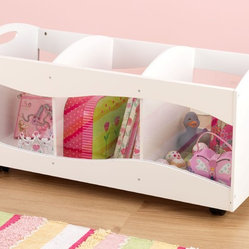 Kids Storage unit with See Thru Bins in a White Color