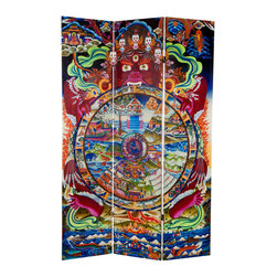 Oriental Furniture - 6 ft. Tall the Wheel of Life Double Sided Canvas Room Divider - A common motif in Himalayan homes and temples, the Wheel of Life is a detailed visual representation of Buddhist teaching and cosmology. Yama, the lord of death and impermanence holds a wheel representing the various realms of reincarnation. In the upper right, the Buddha points the way to Nirvana. This image has been printed on both sides on durable natural canvas and wrapped around a kiln dried wooden frame, provided both strength and portability. Reproduced in all the vivid colors of the original Tibetan painting, this artistic room divider is a beautiful addition to the home, meditation center, or yoga studio.