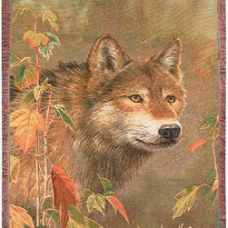 Manual - Hidden in the Mist Wolf Print Tapestry Throw Blanket 50 Inch x 60 Inch - This multicolored woven tapestry throw blanket is a wonderful addition to your home or cabin. Made of cotton, the blanket measures 50 inches wide, 60 inches long, and has approximately 1 1/2 inches of fringe around the border. The blanket features a print of a wolf stalking some prey. Care instructions are to machine wash in cold water on a delicate cycle, tumble dry on low heat, wash with dark colors separately, and do not bleach. This comfy blanket makes a great housewarming gift that is sure to be loved.