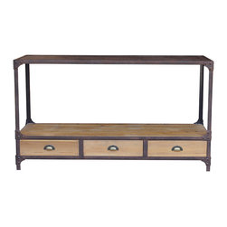 Kathy Kuo Home - Luca Reclaimed Wood Rustic Iron Industrial Loft Console Table - Salvage meets storage with style! This cool console made of reclaimed wood and iron has that vintage industrial vibe ideal for your cosmopolitan decor.