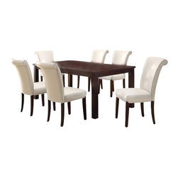 Monarch Specialties - Monarch Specialties 7 Piece 78x40 Dining Room Set in Dark Espresso, White - This dining table offers rich design and transitional styling that invites a relaxed setting into your home. Finished in a dark espresso, this clean lined rectangular shaped dining table will create the perfect look for intimate dinners or casual get togethers. This piece features thick block legs and an extension leaf to accommodate all your friends. What's included: Dining Table (1), Side Chair (6).