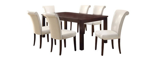Monarch Specialties - Monarch Specialties 7-Piece 78x40 Dining Room Set in Dark Espresso, White - This dining table offers rich design and transitional styling that invites a relaxed setting into your home. Finished in a dark espresso, this clean lined rectangular shaped dining table will create the perfect look for intimate dinners or casual get togethers. This piece features thick block legs and an extension leaf to accommodate all your friends. What's included: Dining Table (1), Side Chair (6).