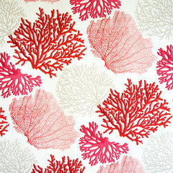 Red coral fabric pink salmon orange ocean - A coral fabric with orange, pink, and salmon coral trees. An interesting ocean coral fabric for those who want something a bit different.