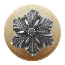 """Inviting Home - Opulent Flower Natural Wood Knob (clear finish with antique pewter) - Opulent Flower Natural Wood Knob in clear finish with hand-cast antique pewter insert; 1-1/2"""" diameter Product Specification: Made in the USA. Fine-art foundry hand-pours and hand finished hardware knobs and pulls using Old World methods. Lifetime guaranteed against flaws in craftsmanship. Exceptional clarity of details and depth of relief. All knobs and pulls are hand cast from solid fine pewter or solid bronze. The term antique refers to special methods of treating metal so there is contrast between relief and recessed areas. Knobs and Pulls are lacquered to protect the finish. Alternate finishes are available. Detailed Description: The Opulent Scroll pulls add an amazing focus to any drawers or cabinets - it will make them look regal and majestic. The absolute perfect place for these pulls to be used is in the dining room on your china closet. They are great pulls to use if you are trying to punch up an antique piece of furniture or cabinet. You should consider using the Opulent Scroll pulls in combination with the Opulent Flower knobs or wood knobs with flower."""