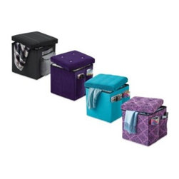 Mystic Apparel Llc - Sit and Store Folding Storage Ottoman - Sit and Store Folding Storage Ottoman features an exterior storage pocket for electronics, remote control, magazines and more. Side handles allow easy lifting. Folds when not in use for compact storage. Perfect for any bedroom, living room or dorm room.