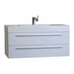 """ConceptBaths - CBI 35.5"""" Wall-Mount Modern Bathroom Vanity in High Gloss White TN-M900-HGW - Transform the look of your bathroom instantly! This contemporary bath vanity features a white man-made stone top with a square basin usually only seen in upscale boutique hotels and spas! Paired with an equally impressive large capacity storage cabinet loaded with premium amenities, the vanity offers design and value never before offered or seen in the mass market."""