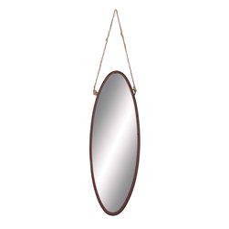 Benzara - Geometric Shaped Metal Rope Wall Mirror in Modern Finesse - Flaunting a simple geometric shape, the Metal Rope Wall Mirror is sure to make a wonderful addition to casual home setups. The simple metal frame of this mirror is equipped with a sturdy rope that allows you to hang this mirror securely on a wall. With its simple oval shape and smooth contours, this mirror combines simplicity with modern finesse, and is sure to complement different room settings. The metal frame of this mirror is adorned with a matte brown finish, and detailed with distressed accents to lend an antique, rustic charm to the design. With its ornate detailing and smooth contours, this mirror is sure to adorn walls of simple room setups, and lends a look of opulence and verve to decor aesthetics. This mirror is designed from quality metal to ensure lasting functionality as it is resistant to easy wear and damage. It is a wonderful gifting option too.