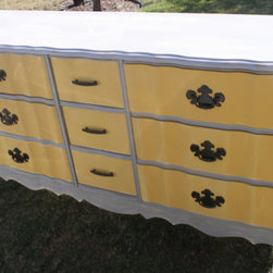 Vintage French Provincial Yellow and Gray by The Lacy Peacock - This sweet pastel yellow and lavender dresser would look lovely in my daughter's room