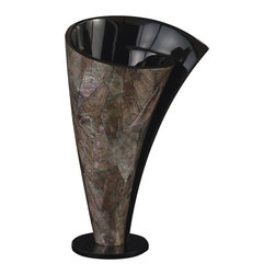 Howard Elliott - Howard Elliott Mother of Pearl Twisted Vase - Short - This unique vase features a Mother of Pearl Twisted effect and is finished with a Glossy Black Inside.