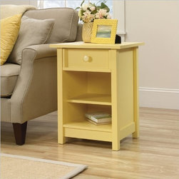 Sauder Original Cottage Side Table, Melon Yellow Finish - Sometimes you need some sunshine indoors to cheer a space. I love the color of this cottage-style end table, and I like the affordable price tag even more!