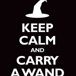 Keep Calm Collection - Keep Calm And Carry A Wand, 11 x 14 giclee print (black) - This item is an Art Print which means it is a higher-quality art reproduction than a typical poster. Art prints are usually printed on thicker paper, resulting in a high quality finish. This print is produced on a 270 gsm fine art paper stock.