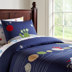Nathan Duvet Cover - For the kid who loves outer space, this duvet cover features all eight planets, some rocket ships and stitched paths of all their orbits.