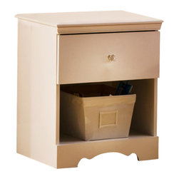 South Shore - South Shore Crystal Collection Kids Wood Night Table in Pure White Finish - South Shore - Nightstands - 3550062 - The perfect addition to any girls room this night table gives delicate style to your child's personal decor. With its crystal drawer knob and stylized bottom it provides that little touch of love while also being safe with it's rounded edges. This night table will also last years of use keeping your child's night time accessories close by with its sturdy construction.