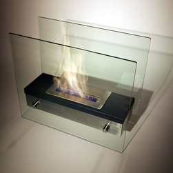 "Bluworld - Nu-Flame Tabletop Ardore Ethanol Fireplace - Italian for ""fiery passion"",the elegant Ardore fireplace lives up to its name. A large capacity stainless steel burner is capped with a sleek black cover drawing attention to the dancing flames. The burner is suspended between two thick tempered glass panels which reflect and enhance the fire. Easily adjust the flame height or extinguish it completely with the provided dampener tool. Fuel not included, we recommend using Nu-Flame Bio-Ethanol Fuel. For indoor use only."