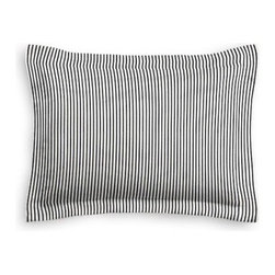 Black Ticking Stripe Custom Sham - The Simple Sham may be basic, but it won't be boring!  Layer these luxurious reversible shams in various styles for a bed you'll want to fall right into. We love it in this classic traditional cotton ticking stripe in black and white.