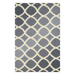 "Loloi Rugs - Loloi Rugs Venice Beach Collection - Charcoal/Lime, 3'-6"" x 5'-6"" - The Venice Beach Collection brightens up your home - inside or out - with a series of appealing, modern, hand-hooked designs from China. Made of 100-percent polypropylene, the rugs are UV and mildew-resistant."