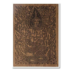 Oriental-Decor - Asian Buddha Japanese Print - This grandiose Japanese print depicts a Buddha figure sitting on top of a snake among a plethora of vines. Use this brilliant Oriental print to create instant Asian decor anywhere it is placed.