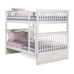Columbia Full over Full Bunk Bed in White Finish - The Mission style of the Columbia Full over Full Bunk Bed in White Finish - Atlantic Furniture is just one of the many reasons that this bunk bed will look fantastic in your child's bedroom. It's not only gorgeous it's also very kid-strong because it's made of eco-friendly Rubberwood that's recognized for its attractive look and long-lasting qualities. The vibrant white finish will also never loose its luster because it was put on in 5 finishing steps to guarantee that it lasts.