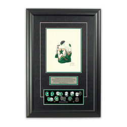 """Heritage Sports Art - Original art of the NHL 1999-2000 Dallas Stars jersey - This beautifully framed piece features an original piece of watercolor artwork glass-framed in an attractive two inch wide black resin frame with a double mat. The outer dimensions of the framed piece are approximately 17"""" wide x 24.5"""" high, although the exact size will vary according to the size of the original piece of art. At the core of the framed piece is the actual piece of original artwork as painted by the artist on textured 100% rag, water-marked watercolor paper. In many cases the original artwork has handwritten notes in pencil from the artist. Simply put, this is beautiful, one-of-a-kind artwork. The outer mat is a rich textured black acid-free mat with a decorative inset white v-groove, while the inner mat is a complimentary colored acid-free mat reflecting one of the team's primary colors. The image of this framed piece shows the mat color that we use (Hunter Green). Beneath the artwork is a silver plate with black text describing the original artwork. The text for this piece will read: This original, one-of-a-kind watercolor painting of the 1999-2000 Dallas Stars jersey is the original artwork that was used in the creation of this Dallas Stars uniform evolution print and tens of thousands of other Dallas Stars products that have been sold across North America. This original piece of art was painted by artist Nola McConnan for Maple Leaf Productions Ltd. Beneath the silver plate is a 3"""" x 9"""" reproduction of a well known, best-selling print that celebrates the history of the team. The print beautifully illustrates the chronological evolution of the team's uniform and shows you how the original art was used in the creation of this print. If you look closely, you will see that the print features the actual artwork being offered for sale. The piece is framed with an extremely high quality framing glass. We have used this glass style for many years with excellent results. We packa"""