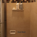 Recessed Bathroom Tile Niches - Crown molding shower shelves with recessed foot rest