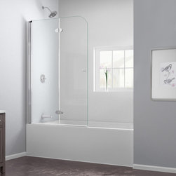"""Dreamline - AquaFold 36"""" Frameless Hinged Tub Door, Clear 1/4"""" Glass Door - The AquaFold tub door is the perfect combination of function and style. The frameless door makes a statement with sophisticated curved silhouette, while the practical feature of the bi-fold action offers convenience. Choose the AquaFold tub door for a unique and modern look at an attractive price point."""