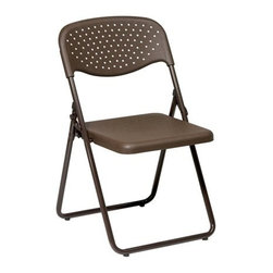 Office Star - Office Star Folding Chair with Mocha Plastic Seat and Back and Mocha Frame - Folding Chair with Mocha Plastic Seat and Back and Mocha Frame. (4 Pack)