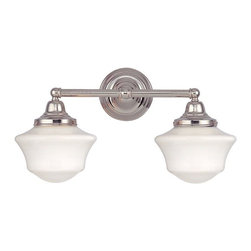Design Classics Lighting - Schoolhouse Bathroom Light with Two Lights in Polished Nickel - WC2-15 / GC6 - Polished nickel finish bathroom vanity light with Ballard schoolhouse style opal white glass. Takes (2) 60-watt incandescent A19 bulb(s). Bulb(s) sold separately. UL listed. Dry location rated.