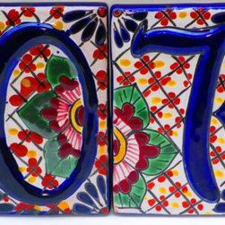 Spanish Tile House Numbers by Mexico Fabric & Supplies - This makes me feel like I am walking through the streets of Puerto Rico with brightly colored houses and beautiful tile house numbers.
