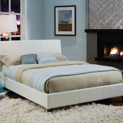 """Standard Furniture - Standard Furniture New York Upholstered Platform Bed in White Queen - New York features a modern look that is sure to engage your room with comfort and innovative style. New York boasts a luxurious padded headboard for comfort and design appeal. This piece is available in four rich colors including black, brown, ivory, and red. Sizeable headboard allows space for decorative pillows. - 93955-QN.  Product features: Belongs to New York Collection by Standard Furniture; Queen Bed: 65""""W x 65""""D x 39""""H; King Bed: 81""""W x 81""""D x 39""""H; Luxurious padded headboard and footboard; Sizeable headboard with wings allows space for decorative pillows; Surfaces clean easily with a soft cloth; White Finish; Available in Queen or King sizes. Product includes: Upholstered Headboard (1); Upholstered Footboard w/ Rails (1). Upholstered Platform Bed in White belongs to New York Collection by Standard Furniture."""