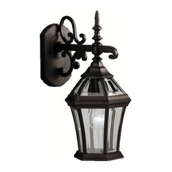 "BUILDER - KICHLER 9789BK Townhouse Traditional Outdoor Wall Sconce - With its intricate design, the Townhouse Collection adds classic form to Kichler's expansive assortment of decorative outdoor lighting. Made by the finest craftsmen in the industry, each piece is formed from cast aluminum and is U.L. listed for wet location, ensuring these high quality fixtures will continue looking fabulous for years to come. This 15-1/2 "" high, 1-light wall lantern features our Black finish with clear beveled glass panels, which uses a 100-watt (max.) bulb that accentuates the luster of your home with zeal."