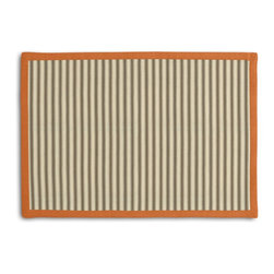 Taupe Ticking Stripe Tailored Placemat Set - Class up your table's act with a set of Tailored Placemats finished with a contemporary contrast border. So pretty you'll want to leave them out well beyond dinner time! We love it in this traditional taupe & ivory ticking stripe woven in super soft cotton.