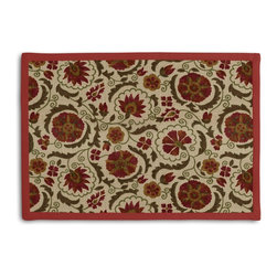 Red & Beige Suzani Tailored Placemat Set - Class up your table's act with a set of Tailored Placemats finished with a contemporary contrast border. So pretty you'll want to leave them out well beyond dinner time! We love it in this eclectic swirling suzani in rust red & grass green on tan linen.