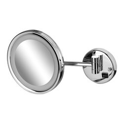 Geesa - Wall Mounted Round Chrome LED 3x Magnifying Mirror - Contemporary style LED lighted wall mounted magnifying mirror. Mirror is available in a chrome finish with 3x magnification. Decorative chrome magnifying mirror. Modern & contemporary wall-mount magnified mirror. For modern & contemporary settings. From the Geesa Mirror Collection collection. Manufactured in Netherlands.