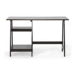 Mott Dark Brown Wood Modern Desk with Sawhorse Legs (Small) - Relieve yourself from the perils of a disorganized (and unstylish!) workspace by choosing our Mott Writing Desk for home office.  This modern desk is a simple design but features eye-catching sawhorse legs with built-in shelving on the left side.  The contemporary desk is made with an MDF frame overlaid with very dark espresso brown rubberwood veneer.  The small Mott Desk requires assembly and is made in Malaysia.  To clean, dust with a dry cloth. This design is also available in a larger size (sold separately). desk dimension: 47.06 inches wide x 20 inches d p x 29.06 inches height.  Upper Shelf dimension:15.75Wx12Dx7H  Lower Shelf dimension:15.75Wx15.75Dx14.75H