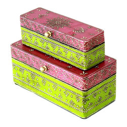 "MarktSq - Set of 2 Hand Painted Wooden Jewelry Box in Pink and Green - These pretty boxes come as a set of 2. The longer shape of the box helps in storing watches and the gorgeous color combination makes this a fantastic gift. Approximate dimensions: L 7.8"" x H 3.4"" x W 3.5"" and L 6.75"" x H 2.1"" x W 2.25"""