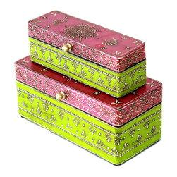 MarktSq - Wooden Jewelry Box (Orange and Grey) - Hand painted jewelry box (Set of 2)