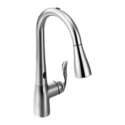 """Moen - Moen 7594EC Arbor Series Pull-Down Kitchen Faucet w/Motion Sense (Chrome) - This pull-down kitchen faucet features a 3-function spout head for the right flow where you need it, MotionSense technology for even more convenience in your kitchen, a single lever handle for precise volume and temperature control, a Reflex system that allows for smoother operation, easy movement, and secure docking of your pull-down spray head, and 3/8"""" connections for an easy installation. This model comes in a bright, highly-reflective Chrome finish."""