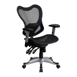 Flash Furniture - Flash Furniture Office Chairs Mesh Executive Swivels X-GG-55-YW-OG - If you're looking for an easy to adjust office chair than this chair by Flash Furniture is perfect for you. The triple paddle mechanisms control the back angle adjustment, tilt control and pneumatic seat lift. The silver nylon base with black caps that prevent feet from slipping. This ventilated mesh computer chair will give you the comfort you desire to last throughout the day. [GO-WY-55-GG]