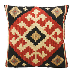 Kathy Kuo Home - Ataylana Black/Red Kilim Pillow - The bold geometric motif and rich color story of the Ataylana kilim pillow deliver effortless, global style.  From rustic ranches to hookah lounges, the kilim unique combination of heirloom and earthy makes it a great addition to almost any room.