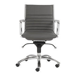 Euro Style - Dirk Low Back Office Chair - Gray/Chrome - High or low. Armrests or not, the Dirk design is very popular for all the right reasons. The front of the seat and the top of the back are one-piece sections for a finished look. The inner seat and lower back are flat bungee bands which offer outstanding comfort that is famous everywhere in the known world.