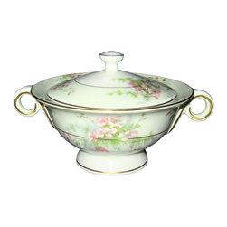 Haviland - Haviland Apple Blossom Sugar Bowl And Lid With Handle - Haviland Apple Blossom Sugar Bowl And Lid With Handle