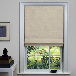 Custom Flat Roman Shades & Blinds, Oatmeal - This oatmeal Roman shade is 97 percent linen and 3 percent cotton. It is available with a blackout liner to keep the bedroom dark. I have versions of this in cloth and natural wood on all the bedroom windows in my home.