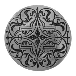 """Inviting Home - Renaissance Knob (brilliant pewter etch) - Hand-cast Renaissance Knob in brilliant pewter etch finish; 1-1/2"""" diameter Product Specification: Made in the USA. Fine-art foundry hand-pours and hand finished hardware knobs and pulls using Old World methods. Lifetime guaranteed against flaws in craftsmanship. Exceptional clarity of details and depth of relief. All knobs and pulls are hand cast from solid fine pewter or solid bronze. The term antique refers to special methods of treating metal so there is contrast between relief and recessed areas. Knobs and Pulls are lacquered to protect the finish. Alternate finishes are available. Detailed Description: The Renaissance Pulls are delicate-looking design that has a very bold shape to it. Unlike some of the pulls in the collection this one is not only rectangular but has the circle in the middle that really punches it up. The Renaissance knobs will look amazing in conjunction with the pulls due to the fact that they are round as well."""