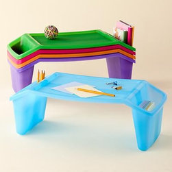 Lap Tray - No room for a desk? Consider a stackable lap tray. The two side pockets hold crayons, papers, etc.