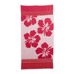 Beach Towel 450GSM, 34 x 63 - Hawaiian Flower, Pink - Hawaiian Flower Beach Towels (Set of 2)100% Cotton