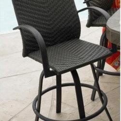 Leather Swivel Barstool (Set of 2) - Leather Swivel Barstool in Resin Wicker and Aluminum Frame. Set of 2